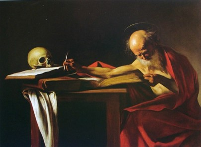 São Jerônimo Que Escreve, obra de Michelangelo Caravaggio em 1605